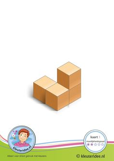 50 Bouwkaarten: Bouwkaart 1 moeilijkheidsgraad 2 voor kleuters, kleuteridee, Preschool card building blocks with toddlers 1, difficulty 2