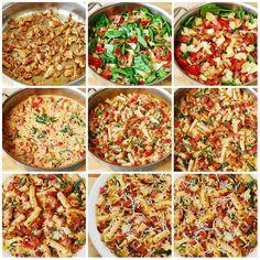 Macarrão/Fettuccine com Espinafre e Alcachofra com Bacon e Frango e Tomate ao Cheese Molho de Creme//      1 colher de sopa de azeite de oliva-     1/2 coxas(350g) de frango, desossadas, sem pele, cortado-     1 colher de chá colorau-     1 colher de chá de tempero italiano (tomilho, orégano, manjericão - combinada)-     espinafre fresco do bebê, não cozidas (1/2 do saco)-     4 tomates Roma, picados em cubos grandes-