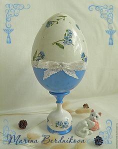 """Купить Большое пасхальное яйцо """"Незабудки"""" - васильковый, Пасха, пасхальный сувенир, пасхальный подарок"""