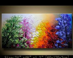 Original Abstract Painting, Modern Textured Painting,Impasto Landscape Textured Modern Palette Knife Painting,Painting on Canvas byChen Size: 24x48x1.2 [60x120x3cm] Stretched thickness: 1.2 (3cm ) Framed / Stretched ( Ready to hang! ) The sides are staple-free and are painted black. It is ready to hang .  Payment Details: we prefer paypal Do remember to leave your phone number in the note field  Shipment and Packing charge : By Air Mail Or EMS to world-wide Parcel will be shipped out within…