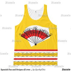 Spanish Fan and Stripes all over tank top - Fashionable Women's Tank Tops By Creative Talented Graphic Designers - #tanktop #fashion #design #fashiondesign #designer #fashiondesigner #style