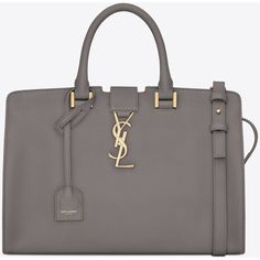 Small Monogram Saint Laurent Cabas Bag In Fog Leather ($2,450) ❤ liked on Polyvore featuring bags, handbags, shoulder bags, fog, pocket purse, genuine leather purse, leather shoulder handbags, real leather handbags and real leather purses