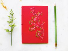 Spring Tree Branch. Embroidered A6 Notebook. by FabulousCatPapers