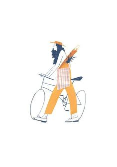 Beautiful illustration of woman with bike by Jessica Meyrick A project exploring the small indulgences of everyday characters in the park. AOI World Illustration Awards, New Talent Self-Initiated, shortlisted 2017 Free Illustration, Illustration Inspiration, Illustration Design Graphique, Illustration Mignonne, Character Illustration, Illustration Art Drawing, Illustration Styles, Woman Illustration, Illustration Editorial