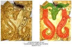 Lira zoomorfă, formată din doi dragoni cu trup de şarpe şi cap de animal de pradă, reprezentaţi în poziţie afrontată faţă de un bucraniu (simbol al fertilităţii şi regenerării), reprezentată pe obrăzarul drept al coifului de la Cucuteni-Băiceni