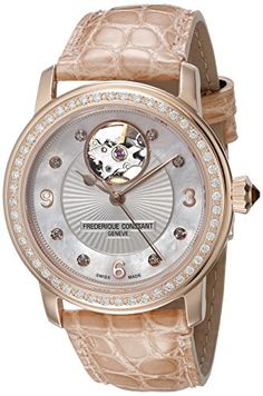 Women's Wrist Watches - Frederique Constant Womens FC310HBAD2PD4 Heart Beat Analog Display Swiss Automatic Beige Watch ** Find out more about the great product at the image link. (This is an Amazon affiliate link)