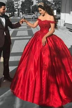 aa7e6561abe Ball Gown Off the Shoulder Red Satin Lace up Quinceanera Dresses uk with  Appliques PW101