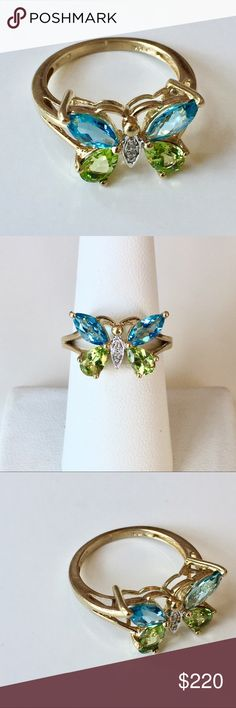 10k Butterfly Ring 🦋 Gemstone & Diamonds • A lovely, detailed 3-D, solid 10k ring.  • Natural Diamonds, in white gold, make up the body of this beautiful butterfly.  • Natural Blue Topaz, and Peridot stones, create the sparkling wings, which span approx 16.5mm, at widest point.  • Stands approximately 5mm, atop finger, at center point.  • Ring size 7.  • Sizable.  • 3.1 grams.   *The line that is visible, inside the shank, may have just been a scratch test, to confirm the gold content. I am…
