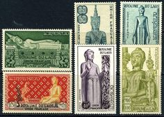 Laos C7-12 XF Mint Never Hinged Buddah Statues Airmail Set from 1953