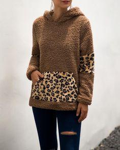 CYJ-shiba Womens Leopard Sherpa Fleece Hoodies Patchwork Fuzzy Pullover Sweatshirt with Pockets Fleece Hoodie, Fuzzy Pullover, Brown Leopard, Womens Fashion Online, Women's Summer Fashion, Hoodies, Sweatshirts, Pattern Fashion, Fashion Sets