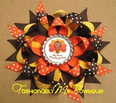 My First Thanksgiving Stacked Bottlecap Bow on Etsy, $7.00