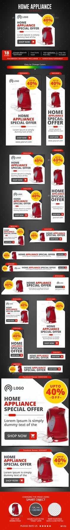 Home Appliances Web Banners Template PSD #design #ads Download: http://graphicriver.net/item/home-appliances-banners/13274597?ref=ksioks