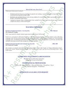 ESL Teacher Resume Sample Page 1 Teacher Language And