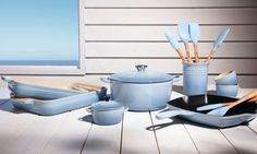 Le Creuset Ill take all of this please! coastal blue or Caribbean, either will do! Coastal Farmhouse, Coastal Cottage, Coastal Decor, Modern Coastal, Farmhouse Design, Coastal Style, Coastal Bathrooms, Coastal Living Rooms, Coastal Chandelier