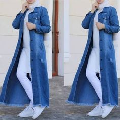 Long cardigans and vests hijab trends - Hijab Fashion Summer, Modest Fashion Hijab, Hijab Style Dress, Modern Hijab Fashion, Street Hijab Fashion, Casual Hijab Outfit, Hijab Fashion Inspiration, Hijab Chic, Denim Fashion
