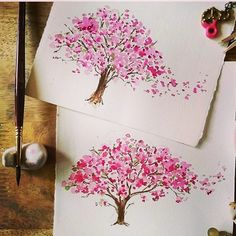 Pin by Kathryn Newman on Watercolor Watercolor Mandala, Watercolor Trees, Watercolor Cards, Watercolour Painting, Painting & Drawing, Pink Watercolor, Cherry Blossom Art, Blossom Trees, Paint Cards