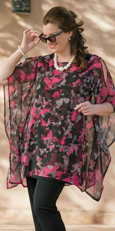 Kasbah pink/black voile splash top at Box as spring summer months … family and friends meetings, weddings, engagement etc … - Diy 5 Minutes Crafts African Fashion Dresses, Fashion Outfits, Womens Fashion, Curvy Fashion, Plus Size Fashion, Plus Size Dresses, Plus Size Outfits, Plus Size Sommer, Xl Mode