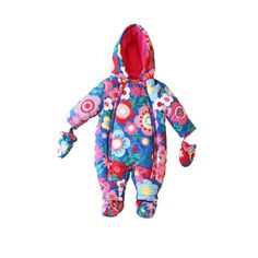 Toby Tiger Baby Snowsuit Multi Flower | MonkeyMcCoy