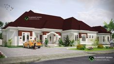 Architectural design of a proposed 4 bedroom bungalow with a BQ In Port Harcourt, Nigeria Dream Home Design, Small House Design, Home Design Plans, Modern House Design, Modern Bungalow House Plans, House Construction Plan, African House, House Design Pictures, Nike Shoe