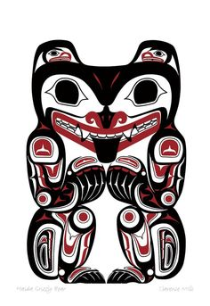 Haida Grizzly Bear by Clarence Mills | First Nations Art | Pinterest
