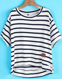White Black Striped Short Sleeve Loose T-Shirt
