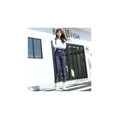 Slim-Fit Suspender Jeans (€24) ❤ liked on Polyvore featuring jeans, women, slim blue jeans, slim cut jeans, slim fit jeans, slim fit blue jeans and slim jeans