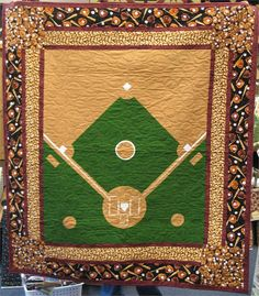 Love this quilt! Quilting Projects, Quilting Designs, Sewing Projects, Man Quilt, Boy Quilts, Panel Quilts, Quilt Blocks, Baseball Quilt, Baseball Field