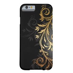 Black and Gold Floral Vine iPhone 6 Case 10% off