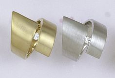 Handmade Gold or White Rhodium Plated  Twirly Ring Decorated with Crystal in the Middle ,  Jewelry Made by Jennifer Love