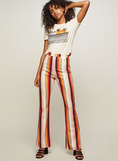 Shop our fab range of trousers at Miss Selfridge. With gorgeous prints & figure flattering shapes you're sure to find the perfect look. Discount Shopping, Bright Pink, Miss Selfridge, Trousers, Rainbow, Color, Outfits, Clothes, Striped Pants