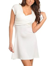 Another great find on #zulily! Ivory Cap-Sleeve V-Neck Dress by Ami Sanzuri #zulilyfinds
