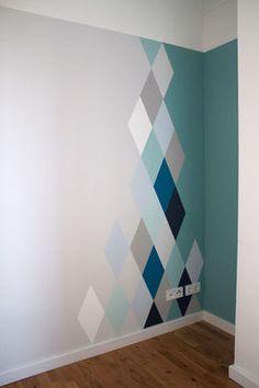 dieartigeblog wandgestaltung rauten in blau und grautnen - Auergewhnliche Wandgestaltung