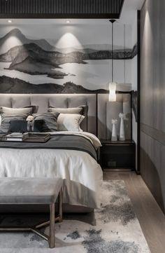 新中式+高级灰,尽显高贵! Bedroom Design Inspiration, Modern Bedroom Design, Modern Chinese Interior, Hotel Room Design, Dream Home Design, House Rooms, Living Room Designs, Room Decor, Furniture