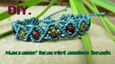 How to Make Macrame Shamballa Bracelet with Amber Stone