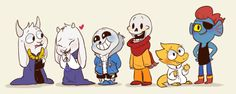 Young Asgore, Toriel, Sans, Papyrus, Alphys, and Undyne ||| Undertale Fan Art by mudkipful on Tumblr