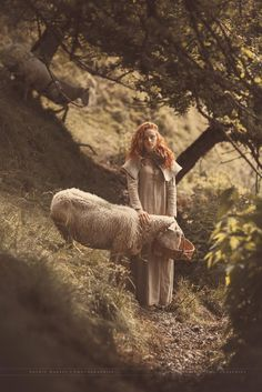Forest maiden and her goats (sheep! Story Inspiration, Character Inspiration, Poses, Fierce, Fantasy Photography, Pics Art, Redheads, Fairy Tales, Pretty