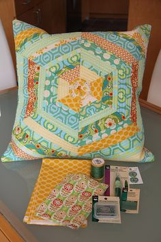 pillow tutorial--the frog in the center is adorable!.  Would make a cute quilt block.