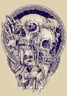 Skull Illustrations by Rafal Wechterowicz