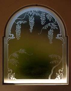 Vitrales y grabados en vidrio Etched Glass, Glass Etching, Glass Door, Glass Art, Glass Engraving, Ornate Mirror, Isco, Carving Designs, Laser