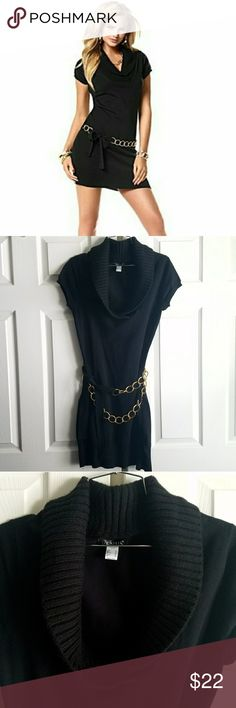 """VENUS Black Mini Sweater Dress w/ Gold Chain Belt *NWOT* VENUS Black Mini Sweater Dress w/ Gold Chain Belt. Add this dress to your little black dress collection! Removable chain belt with self tie closure. Approx. 17"""" from natural waist. Flattering collared ribbed v-neck. Sexy little black dress. VENUS Dresses Mini"""