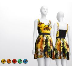 Clothing: Sunflower dress from Rusty Nail • Sims 4 Downloads