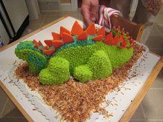 Dinosaur Cake Tutorial.  Made from round cakes.