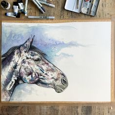 Contemporary watercolour commission with an exciting surprise coming soon.  A2 Watercolour and mixed media, I wish you could see the pearlescent shimmering paint. 🌠✨  About Alice: Alice has the loveliest nature, she really thrives of attention and love. The sweetest of mares who really loves life, with lots of energy. Alice is super sociable with other horses and never fails to make me laugh with her antics, she is definitely one of kind. -Jess   (Paper needs cutting to size) Chloe Brown, Brown Horse, Brown Art, Contemporary Artwork, Pet Portraits, Watercolour, Fails, Original Artwork, Moose Art