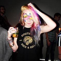 pink purple ombre hair  dyed hair colored hair rainbow hair manic panic