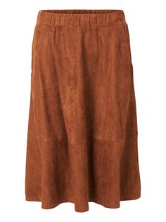 Faux suede skirt from VERO MODA. Style it with a white shirt tucked into the skirt and a pair of cool boots.