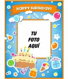 Tarjeta de cumpleaños con marco de fotos rojo, globos y pasteles para - Fotoefectos Birthday Frames, Birthday Cards, Blue Birthday, Stickers, Cake, Lima, Top, Bday Cards, Photomontage