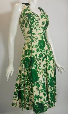 1950s green rose print silk dress by Luis Estevez.
