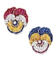 Pair of Platinum, Diamond and Colored Stone 'Pansy' Brooches, Oscar Heyman & Brothers