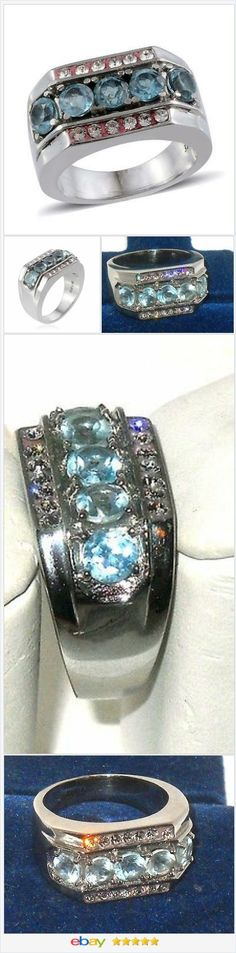 50% OFF #EBAY http://stores.ebay.com/JEWELRY-AND-GIFTS-BY-ALICE-AND-ANN  Topaz Men's Ring Sky Blue 4 carats Size 11
