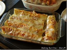 Burritos - I add a half a can of refried beans and a can of rotel mixed on top with the cheese.  Delish!